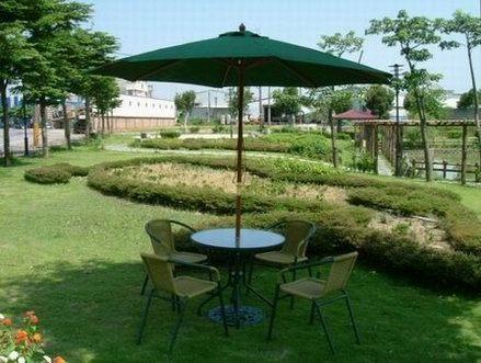 藤椅-兄弟牌PE藤椅一桌四椅組(含綠色傘及12KG傘座)BROTHER戶外休閒傢俱