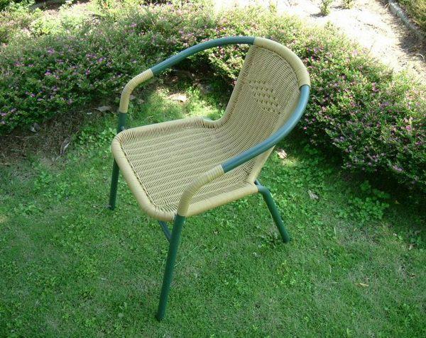 BROTHER 兄弟牌PE藤製鐵管休閒椅 ^(綠色2入裝^)