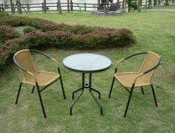 BROTHER 兄弟牌60cm庭院圓桌+PE藤椅 (黑色)