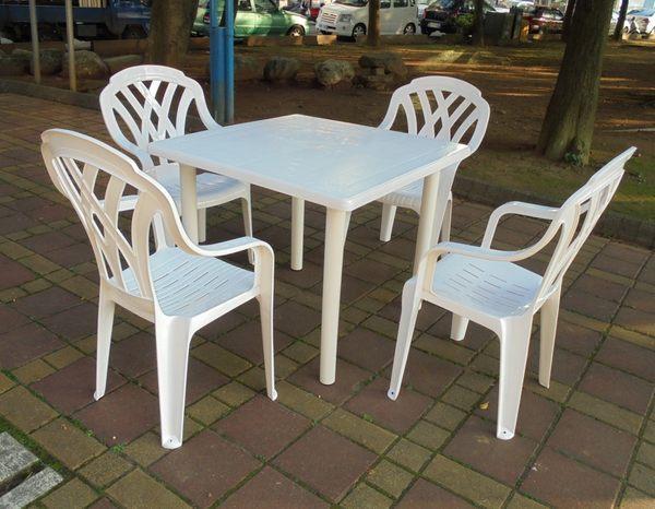 兄弟牌塑膠格網高背椅+90cm塑膠方桌一桌四椅組~庭院聚餐休閒必備!!臺灣製