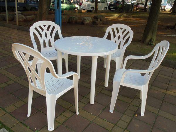 兄弟牌白色塑膠格網高背椅+90cm塑膠圓桌一桌四椅組~庭院休閒聚餐必備!!台灣製