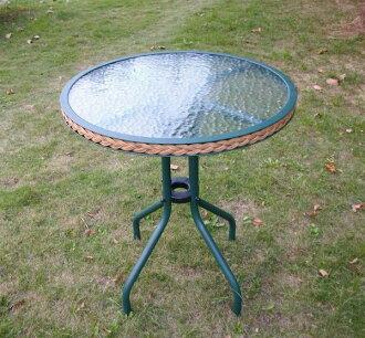 戶外傢俱BROTHER 60cm編藤庭院圓桌(綠色)-兄弟牌休閒傢俱