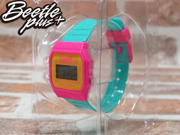 BEETLE PLUS 西門町經銷 美國潮牌 NEFF FLAVA WATCH PINK/CYAN 粉黃 TIFFANY綠 電子錶 NF-44