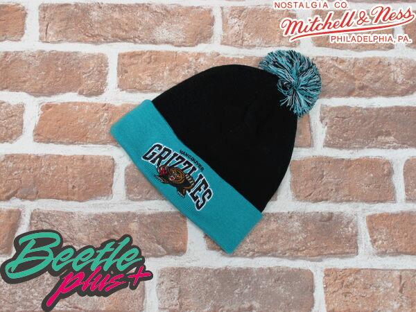 BEETLE PLUS 全新 MITCHELL&NESS NBA BEANIE LOGO 溫哥華灰熊 GRIZZLIES 雙色球球 毛線帽 黑藍 毛帽 SNAPBACK MN-183 1