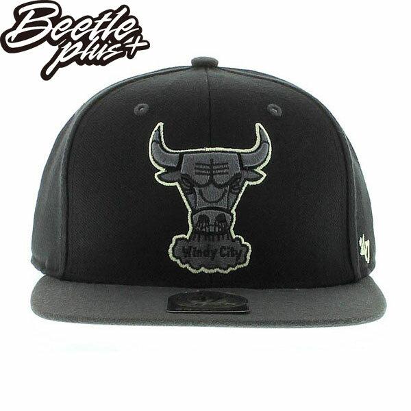 BEETLE PLUS 全新 47 BRAND NBA 芝加哥 公牛 CHICAGO BULLS LOGO 全黑 夜光 立體字 SNAPBACK 後扣棒球帽 MN-280 0