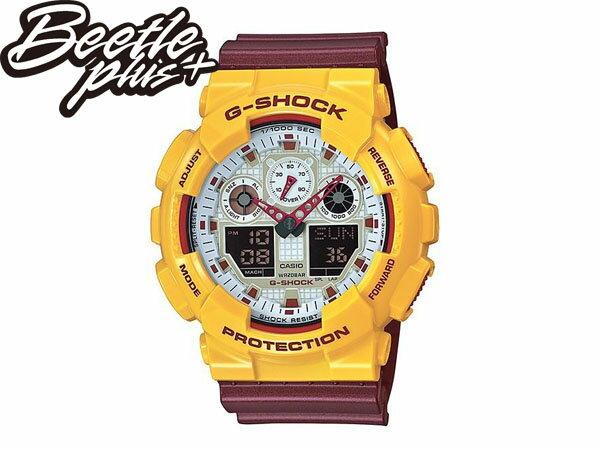 BEETLE PLUS CASIO G-SHOCK GA-100CS-9ADR 白黃 酒紅 雙顯 數位 鋼鐵人 騎士隊 JAMES LBJ 麥當勞 電子錶 手錶 WATCH - 限時優惠好康折扣