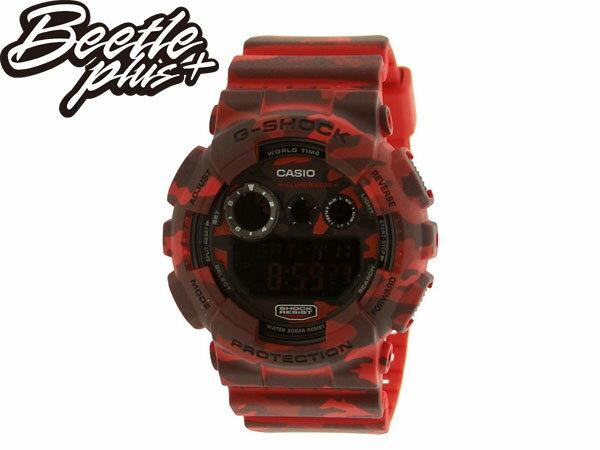BEETLE PLUS 全新 CASIO G-SHOCK GD-120CM 日版 紅迷彩 GD-120CM-4DR 卡西歐 叢林 迷彩 三顯 手錶 WATCH
