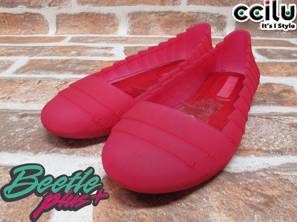 BEETLE PLUS 出清特價 下殺 6折 日本品牌 CCILU FINLEY MERCER RED 桃紅 超輕量 機能性 半透明 女鞋 平底鞋 FIN-01 1