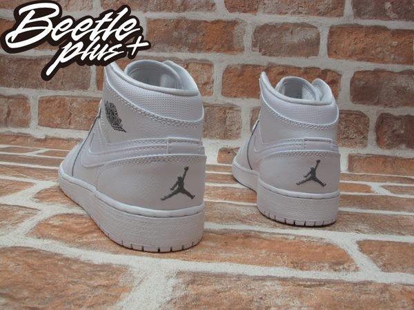 BEETLE PLUS NIKE AIR JORDAN 1 MID BG 全白 白灰 銀 皮革 一代 女鞋 554725-102 2