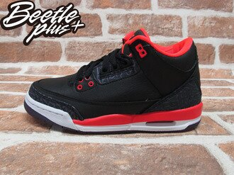 BEETLE PLUS 2012 NIKE AIR JORDAN 3 RETRO GS BRIGHT CRIMSON AJ3 爆裂 黑紅 女鞋 398614-005