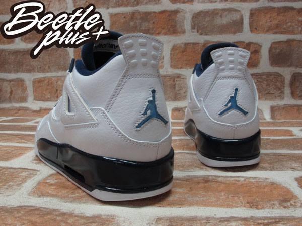 最後一雙 24CM BEETLE PLUS NIKE AIR JORDAN 4 RETRO BG GS COLUMBIA 4代 荔枝皮 白藍 深藍 哥倫比亞 女鞋 籃球鞋 408452-107 2