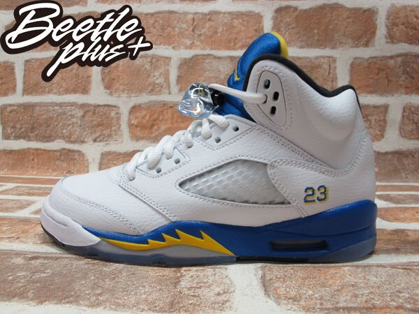BEETLE PLUS 全新 AIR JORDAN 5 RETRO GS LANEY 藍尼中學 白藍黃 女鞋 440888-189 0