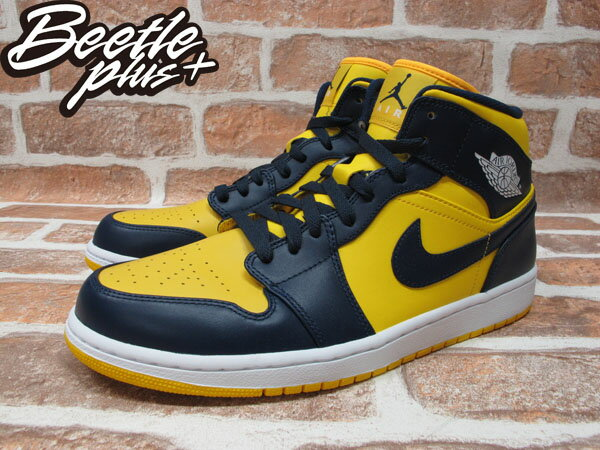 BEETLE PLUS 全新 NIKE AIR JORDAN 1 MID RETRO HIGH 高筒 藍黃 喬丹 密西根 554724-707 1