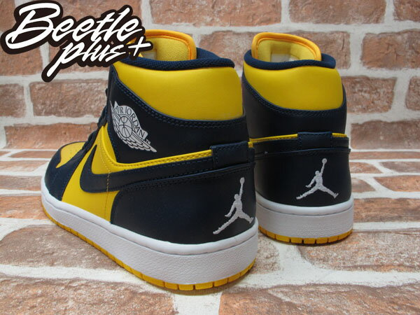 BEETLE PLUS 全新 NIKE AIR JORDAN 1 MID RETRO HIGH 高筒 藍黃 喬丹 密西根 554724-707 2
