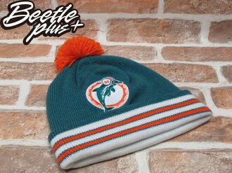 BEETLE PLUS 全新 MITCHELL&NESS NFL 邁阿密海豚 MIAMI DOLPHINS 球球 毛線毛 綠橘 BEANIE MN-75