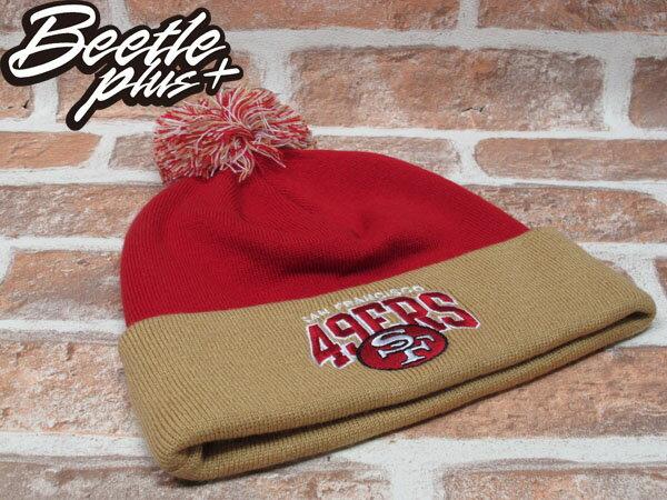 BEETLE PLUS 全新 MITCHELL&NESS NFL BEANIE LOGO 舊金山 49人 49ERS 毛線帽 藍黃 毛帽 SNAPBACK MN-178