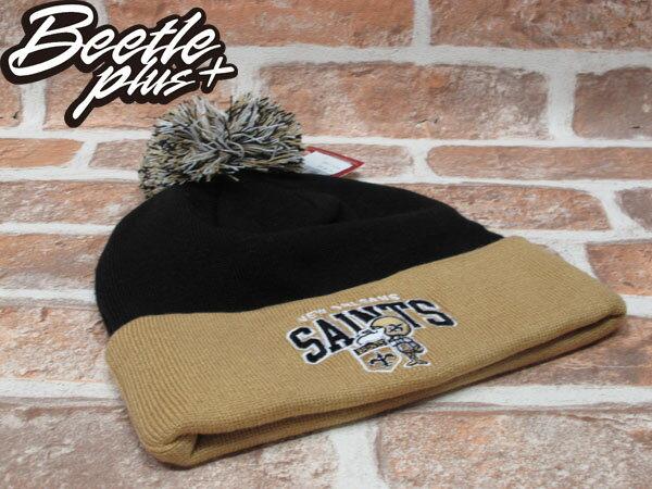 BEETLE PLUS 全新 MITCHELL&NESS NFL BEANIE LOGO NEW ZEALAND SAINTS 聖徒隊 毛線帽 黑 土黃 毛帽 MN-180 0