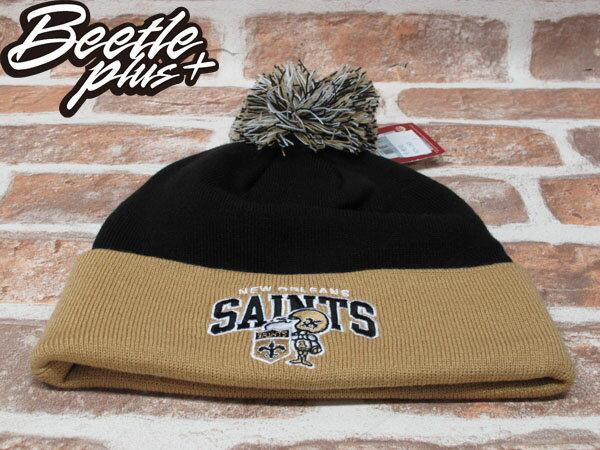 BEETLE PLUS 全新 MITCHELL&NESS NFL BEANIE LOGO NEW ZEALAND SAINTS 聖徒隊 毛線帽 黑 土黃 毛帽 MN-180 1