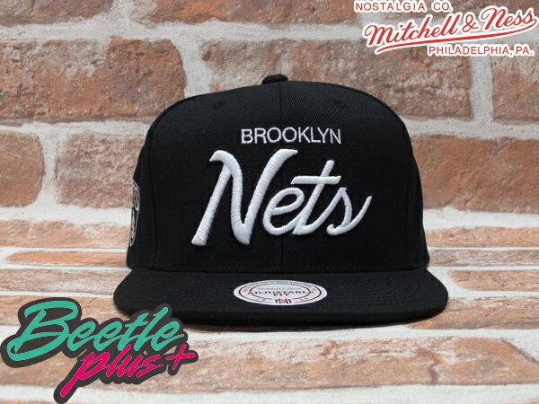 BEETLE PLUS MITCHELL&NESS NBA 布魯克林籃網 BROOKLYN NETS LOGO 黑 草寫字 SNAPBACK 後扣棒球帽 MN-108 0