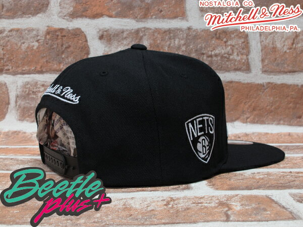BEETLE PLUS MITCHELL&NESS NBA 布魯克林籃網 BROOKLYN NETS LOGO 黑 草寫字 SNAPBACK 後扣棒球帽 MN-108 1
