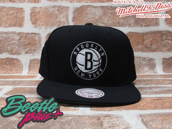 BEETLE PLUS MITCHELL&NESS NBA 布魯克林籃網 BROOKLYN NETS LOGO 黑 文字 SNAPBACK 後扣棒球帽 MN-131 0