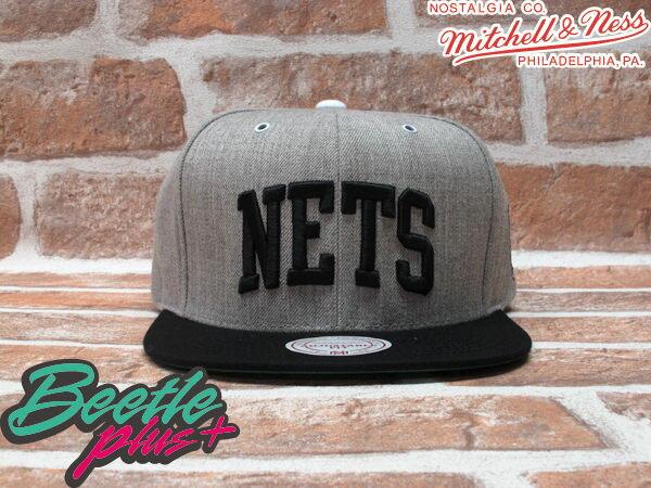 BEETLE PLUS MITCHELL&NESS NBA 布魯克林籃網 BROOKLYN NETS 灰黑 文字 SNAPBACK JAY-Z 後扣棒球帽 MN-161 0