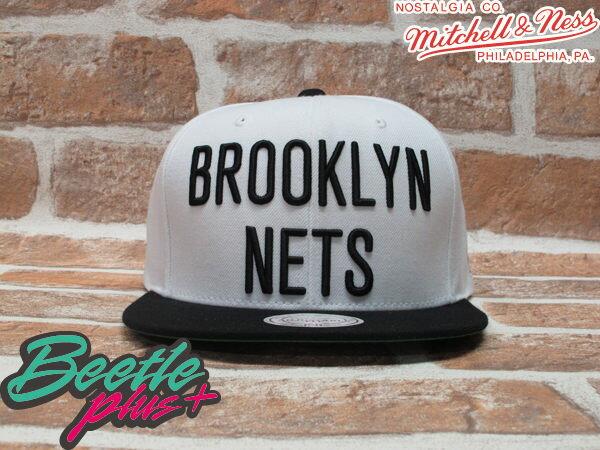 BEETLE PLUS 全新 MITCHELL&NESS NBA 布魯克林籃網 BROOKLYN NETS 白黑 LOGO 文字 SNAPBACK 後扣棒球帽 柯震東 MN-219 0
