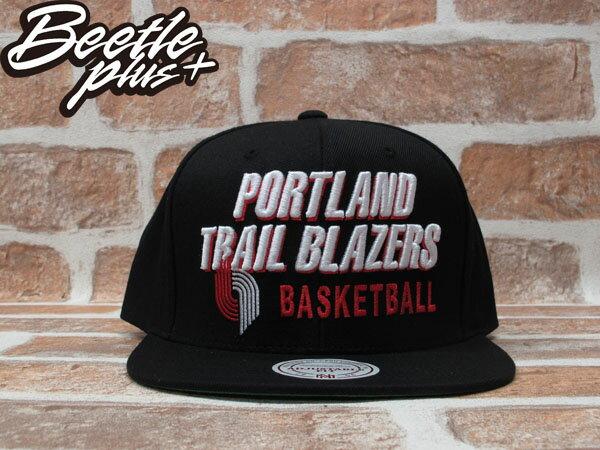 BEETLE PLUS 全新 MITCHELL&NESS NBA PORTLAND TRAILBLAZERS 波特蘭 拓荒者 文字 LOGO 全黑 SNAPBACK MN-203 0