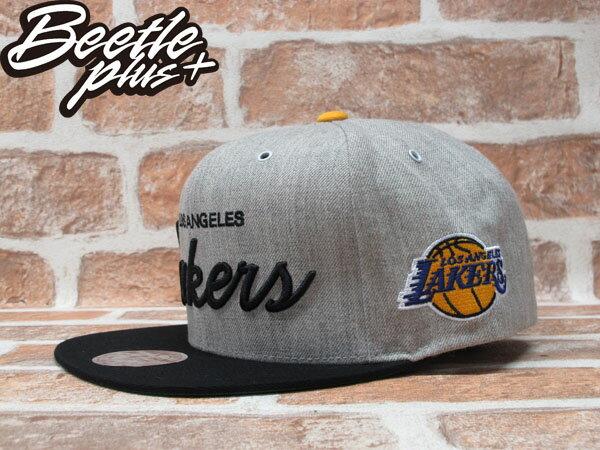 BEETLE PLUS 全新 MITCHELL&NESS NBA LOS ANGELES LAKERS 洛杉磯 湖人 電繡 草寫字 灰黑 KOBE SNAPBACK 後扣 MN-224 1