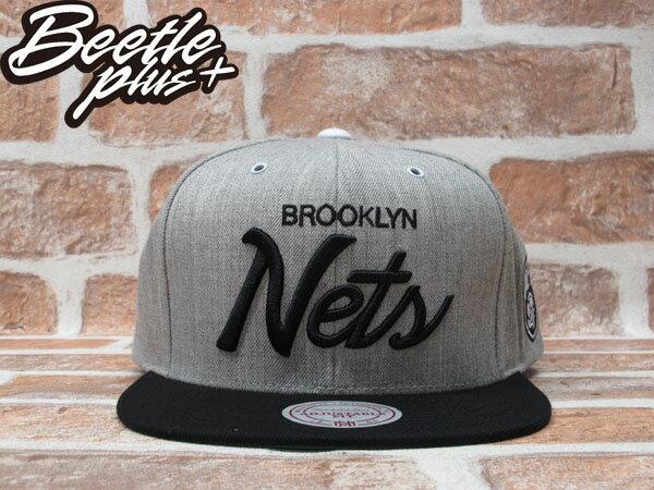 BEETLE PLUS MITCHELL&NESS NBA 布魯克林籃網 BROOKLYN NETS 灰黑 電繡 草寫 SNAPBACK JAY-Z 後扣棒球帽 MN-225
