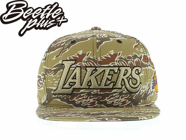BEETLE PLUS MITCHELL&NESS NBA 洛杉磯 湖人 KOBE LAKERS 布萊恩 林書豪 刺繡 全迷彩 土黃 虎紋 LOGO 後扣 棒球帽 SNAPBACK 0