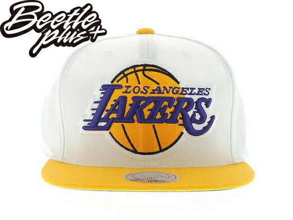 BEETLE PLUS 全新 MITCHELL&NESS NBA 洛杉磯 湖人 LAKERS KOBE 林書豪 刺繡 白黃 大LOGO 後扣 SNAPBACK