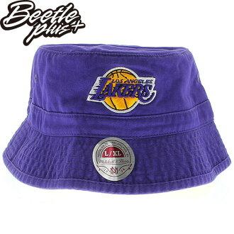 BEETLE PLUS 全新 MITCHELL&NESS NBA 洛杉磯 湖人 LAKERS LOGO 紫黃 林書豪 遮陽帽 漁夫帽 BUCKET HAT MN-274