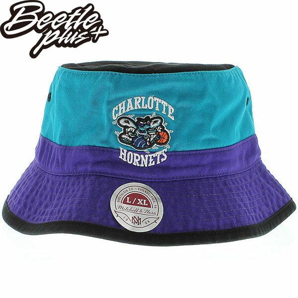 BEETLE PLUS 全新 MITCHELL&NESS NBA 夏洛特 黃蜂 HORNETS LOGO 紫綠 遮陽帽 漁夫帽 BUCKET HAT MN-277