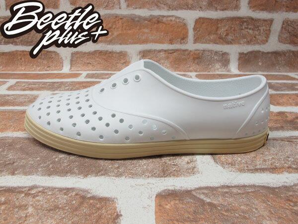 《下殺$1499》女鞋 BEETLE PLUS 現貨 全新 NATIVE JERICHO 全白 奶油底 SHELL WHITE 超輕量 洞洞鞋 GLM04W-110