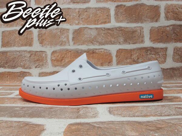《下殺$1599》BEETLE PLUS 2014 NATIVE HOWARD SHELL WHITE / CANTALOUPE PINK 白 亮橘 雙色 輕量 帆船鞋 GLM11-128 0