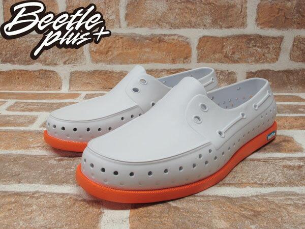 《下殺$1599》BEETLE PLUS 2014 NATIVE HOWARD SHELL WHITE / CANTALOUPE PINK 白 亮橘 雙色 輕量 帆船鞋 GLM11-128 2