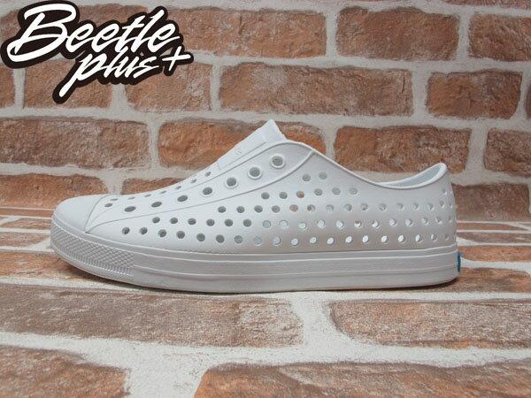 《下殺$1499》BEETLE PLUS 西門町 2014 全新 NATIVE JEFFERSON SWS 超輕量 便鞋 白色 全白 奶油 洞洞 GLM01-125 0