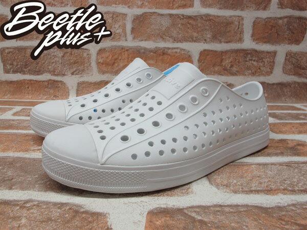 《下殺$1499》BEETLE PLUS 西門町 2014 全新 NATIVE JEFFERSON SWS 超輕量 便鞋 白色 全白 奶油 洞洞 GLM01-125 1