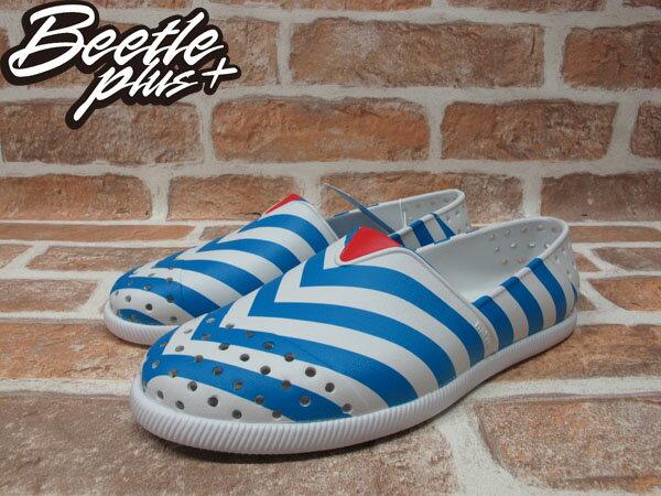 《下殺$1499》BEETLE PLUS 全新 2014 春夏 NATIVE VERONA SHELL WHITE  /  GALAXY BLUE STRIPES 藍白 條紋 海軍風 GLM18-106 1