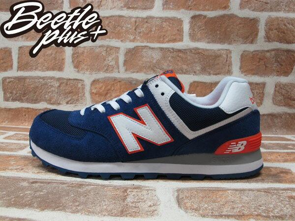 BEETLE PLUS 全新 NEW BALANCE 深藍 白 橘 海軍藍 麂皮 網面 慢跑鞋 ML574BWO 0