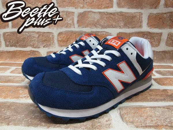BEETLE PLUS 全新 NEW BALANCE 深藍 白 橘 海軍藍 麂皮 網面 慢跑鞋 ML574BWO 1