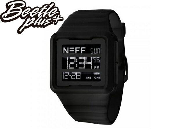 BEETLE NEFF ODYSSEY WATCH MAROON 三顯 格式 全黑 黑色 橡膠 電子錶 防潑水 手錶 - 限時優惠好康折扣