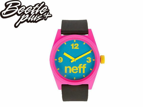 BEETLE PLUS 全新 美國品牌 NEFF DAILY WATCH CYAN PINK BLACK 藍粉 黑黃 黃色指針 圓錶 指針手錶 NF-34 0