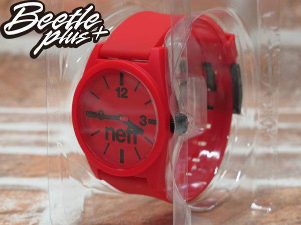 BEETLE PLUS 西門町 經銷 全新 現貨 美國潮牌 NEFF DAILY WATCH RED 全紅 黑色指針 圓錶 指針手錶 NF-49 0