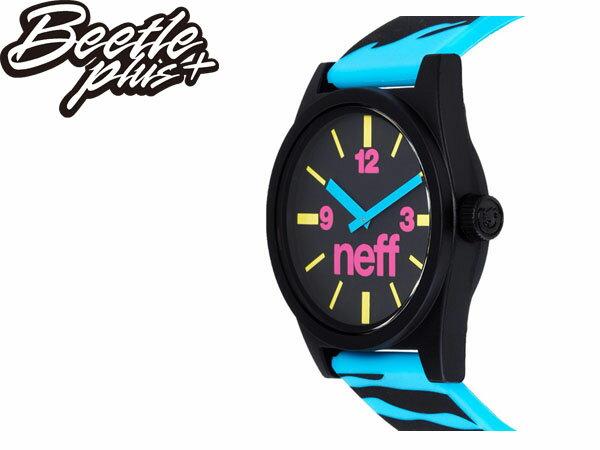 BEETLE PLUS 西門町 全新 美國品牌 NEFF DAILY WATCH BLUE TIGER 黑藍 潑墨 藍色指針 圓錶 指針手錶 NF-89 1