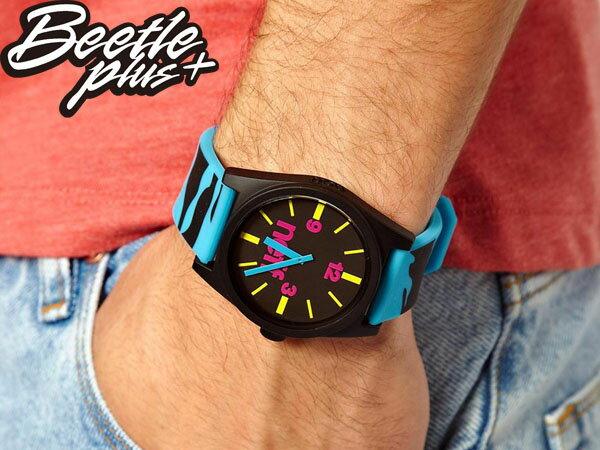BEETLE PLUS 西門町 全新 美國品牌 NEFF DAILY WATCH BLUE TIGER 黑藍 潑墨 藍色指針 圓錶 指針手錶 NF-89 2