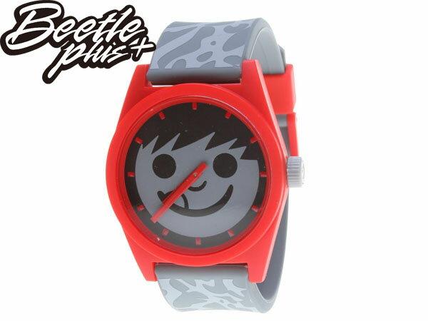 BEETLE PLUS 美國品牌 NEFF DAILY SUCKER WATCH 灰紅 笑臉 CEMENT 爆裂紋 豹紋 指針 圓錶 指針手錶 AJ3 - 限時優惠好康折扣