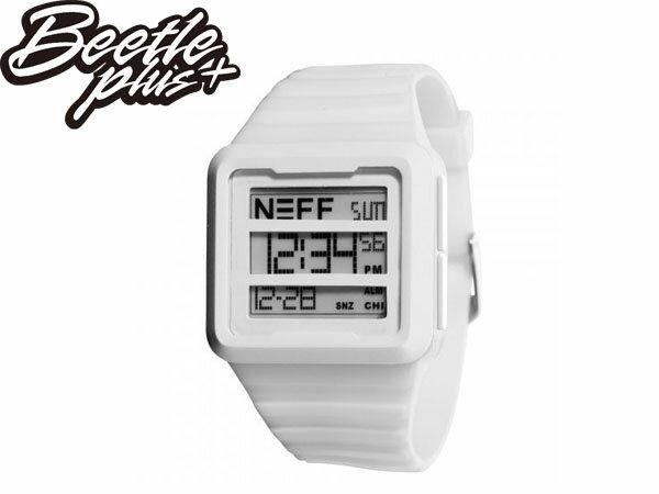 BEETLE PLUS 美國潮牌 NEFF ODYSSEY WATCH WHITE 三顯 格式 全白 電子錶 防潑水 手錶 SWATCH