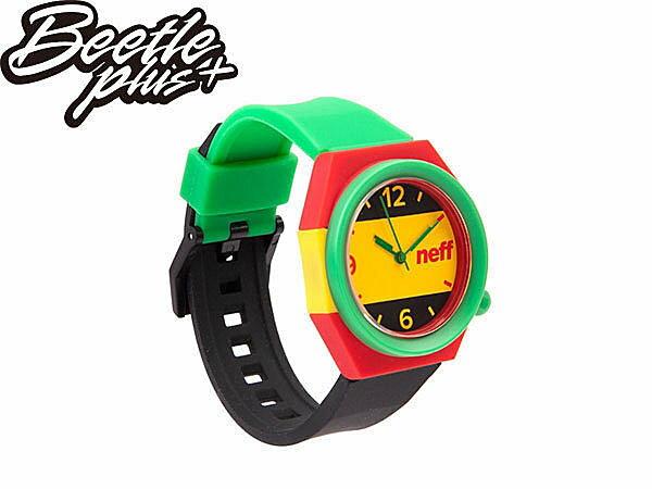 BEETLE PLUS NEFF STRIPE WATCH RASTA 牙買加 黃 綠 紅 指針 圓錶 手錶 NF-116 1